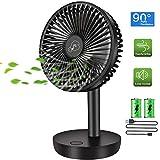 COMLIFE Ventilador de Escritorio USB 4400mAh Recargable Batería Fan de Mesa Portátil, 90 ° Oscilación Automática, 3 Velocidades, Ventilador Personal Ultra Silencioso para Oficina, Hogar, etc.