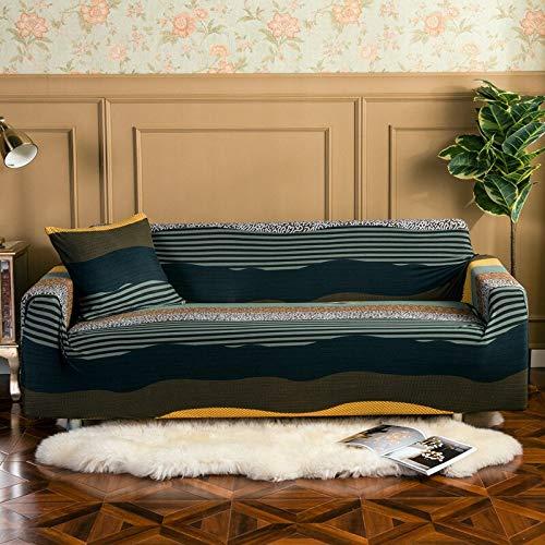 WXQY Funda de sofá geométrica Sala de Estar Funda de sofá elástica elástica Antideslizante Totalmente Envuelta Toalla de sofá a Prueba de Polvo Funda de sofá A3 4 plazas