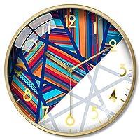 ホームライフ壁掛け時計非カチカチ電池式カラフルな屈折装飾サイレントベッドルームリビングルームの装飾金属フレームクォーツ時計時計