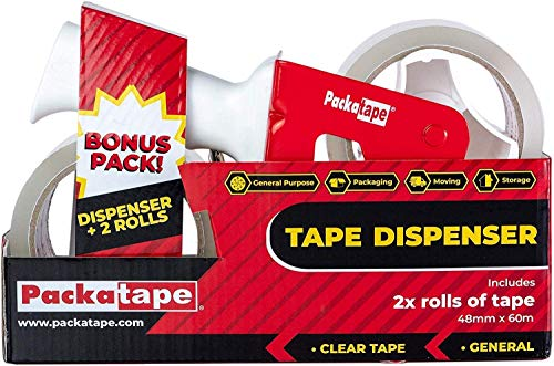 Packatape - Dispensador de cinta adhesiva (incluye 2 rollos de cinta adhesiva transparente, 48 mm x 66 m)
