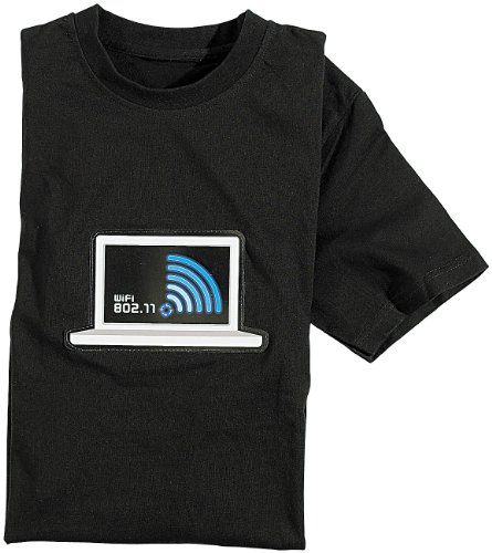 infactory T-Shirts Equalizer: T-Shirt mit leuchtender LED-WiFi-/WLAN-Anzeige Größe S