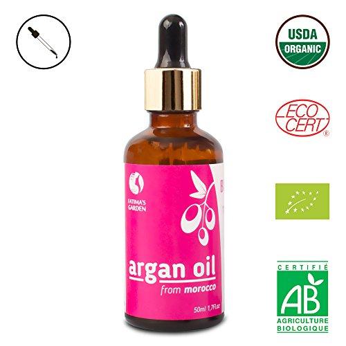 Arganöl von Fatima's Garden für Gesicht, Haare, Haut und Nägel, zertifiziert BIO durch USDA und Ecocert – 100% reines, natives, kaltgepresstes Öl – marokkanische Anti-Aging-Feuchtigkeitspflege – 30ml