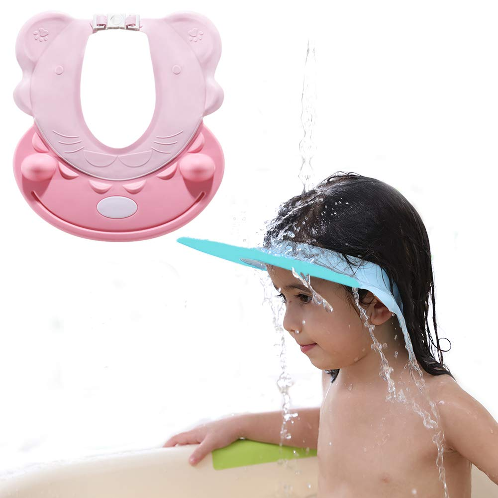 Baby Silicone Shower Cap - 2Pcs With Adjustable Child Shower Cap Sun Visor Soft Shower Cap Shampoo Safety Shield Prevents Water From Pooling In Face Suitable For Toddlers Babies Boys Girls (BLUE+PINK)
