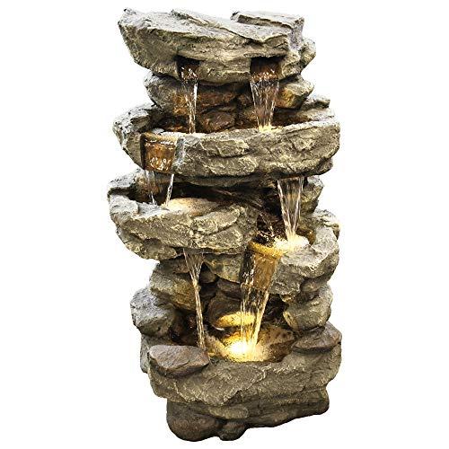 MACOShopde by MACO Möbel Gartenbrunnen Wasserfall XXL - Dekobrunnen mit LED Beleuchtung, ca. 96 x 50 x 38 cm, grau/Steinoptik