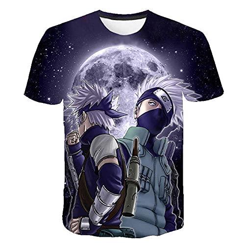 Niños Camiseta con Motivo,Naruto 3D Camiseta de Manga Corta Anime Suelta suéter casual-Le431_Xlarge