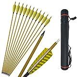 MILAEM 12 Piezas 30' Flechas de Carbono Spine 450 con 4 Pulgadas de Plumas Naturales 100 Granos Punta de Flecha reemplazable para Arco Compuesto y recurvo Tiro con Arco de Caza
