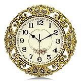 Lafocuse Reloj de Pared Silencioso Europeo Vintage Reloj Cuarzo Rustico Grande Dorado para Bar Salon Comedor Dormitorio 38 cm
