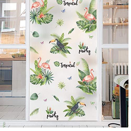 Muurstickers, groen blad, mat glas, ondoorzichtig, raamfolie, kleeffolie, glas, zelfklevend, voor slaapkamer, woonkamer, thuisdecoratie, 60 x 100 cm