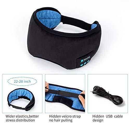 Voerou Sleep Headphones Wireless Bluetooth Sleep Eye Mask Music and Ultra Thin Speakers Perfect for Sleeping, Air Travel,Meditation and Relaxation - Black