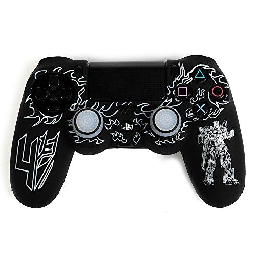 Funda PS4 Pro Mando Silicona Caso Piel Fundas Protectores Cubierta para Sony PS4 Slim/Pro Mando con Pulgar Agarre Thumb Grips x 2 (Blanco) - VISPOW