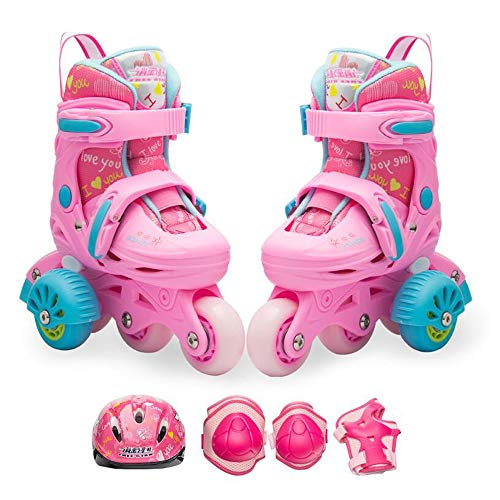 Buy YUMEIGE Roller Skates Girl's Quad Roller Skates with Protective Gear and Training Wheels,Kids ...