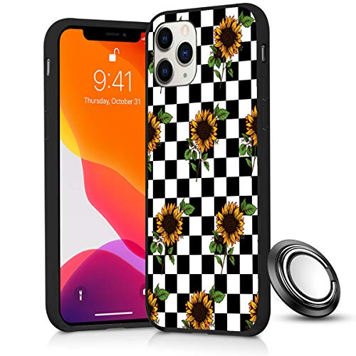 iPhone 11 Pro Max Case, Checkerboard Sunflower Slim Anti Scratch Shockproof Silicone Soft Rubber TPU Protective Case Cover with Phone Ring Holder Stand for iPhone 11 Pro Max 6.5 Inch