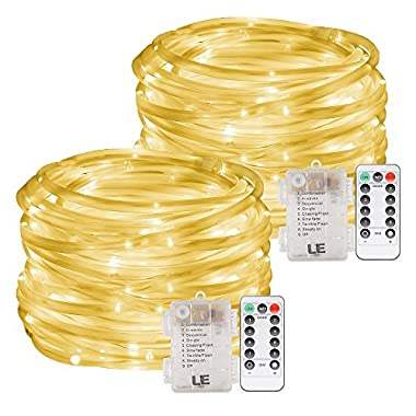LE 33ft 120 LED Dimmable Rope Lights, Battery Powered, Waterproof, 8 Modes/Timer, Warm White Outdoor Decorative Light Mood Lighting for Garden Patio Party Christmas Thanksgiving,Pack of 2