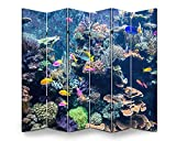 APED DECOR Wood Screen Room Divider Colorful Fishes and Corals in The Aquarium Folding Screen Canvas Privacy Partition Panels Dual-Sided Wall Divider Indoor Display Shelves 6 Panels