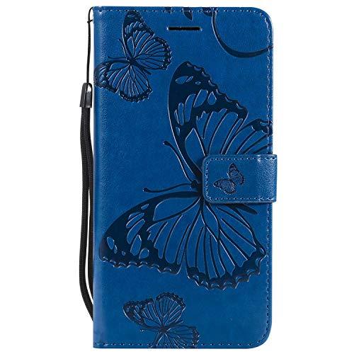 DENDICO - Funda para Samsung Galaxy S6 Edge Plus, de piel tipo cartera para Samsung Galaxy S6 Edge Plus, con función de apoyo y tarjetero de color azul