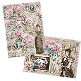 Ideen mit Herz - 2 hojas papel de arroz de precioso decoupage, DIN A4, 2 diseños diferentes, vintage, Navidad, etc.