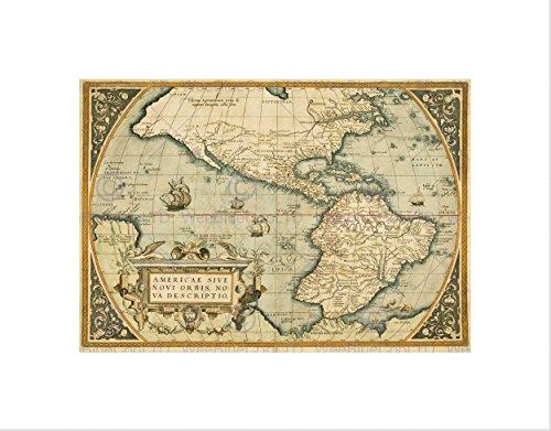 Wee Blauwe Coo Kaart Antieke Mexico Zuid Amerika Stille Oceaan Nieuwe Spanje Art Omlijst Muur Art Print