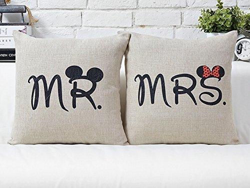Miya Mr & Mrs Topolino e Minni Coppia di copricuscini in cotone, per divano, regalo per coppia