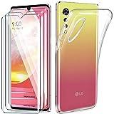 HYMY Hülle für LG Velvet 4G + 3 x Schutzfolie Panzerglas - Transparent Schutzhülle TPU Handytasche Tasche Durchsichtig Klar Silikon Hülle für LG Velvet 4G (6.8