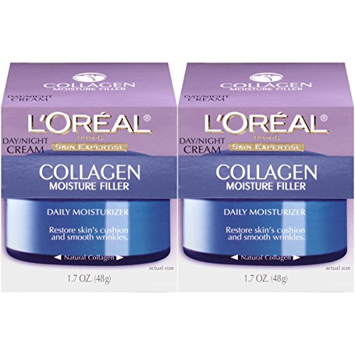 LOreal Paris Skincare Collagen Face Moisturizer, Day and Night Cream, Anti-Aging Face, Neck and Chest Cream to smooth skin and reduce wrinkles, 1.7 oz Pack of 2