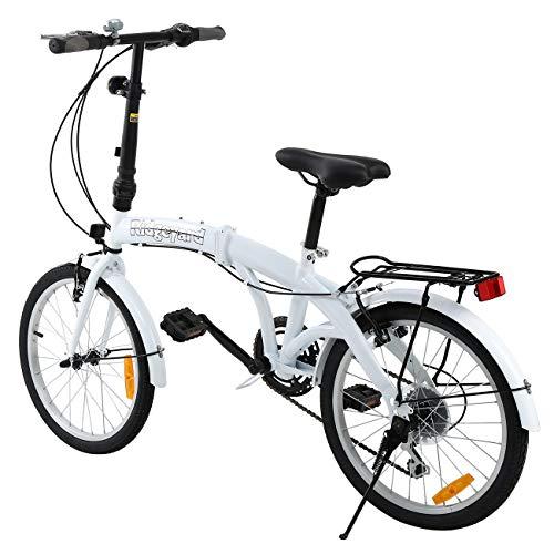 MuGuang Faltbares Fahrrad 20 Zoll 7 Gang Faltmaschine mit LED-Batterielampe der Hinteren Halterung Folding Bike (White) - 3