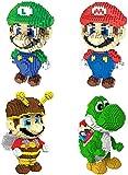 LNLJ 4 Paquete Mario Mini Blocks Set DIY Juego Figura De Acción Ensambling Toy, Boy Girl Best Gift para Adultos