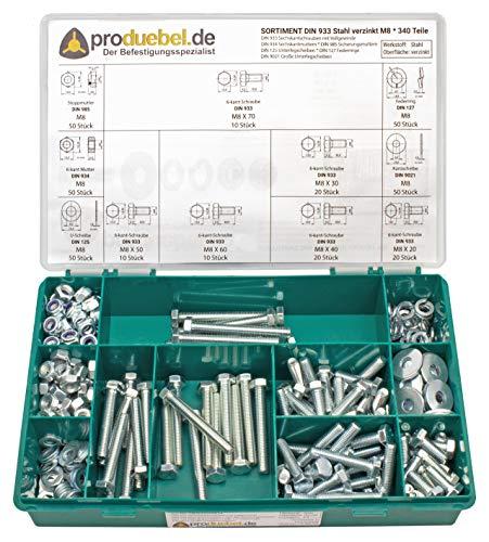 Schrauben-Sortiment DIN 933 Stahl verzinkt 8.8 (DIN933+934+985+125+127+9021) (M8 340 Teile)