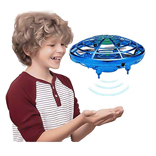GEYUEYA Home Flying Toys Drones for Kids Adults Helicopter with 360° Rotating and Shinning LED Lights, Easy Indoor Flying Ball Hands Boys and Girls Toys (Blue)