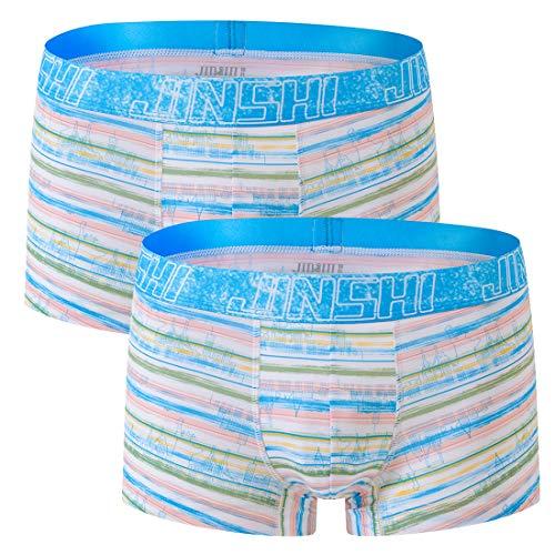 JINSHI Herren Unterwäsche, Stretch, Boxershorts für Herren, Kurze Beine, atmungsaktiv, bequemes Faserpackung - Mehrfarbig - Etikettengröße 3XL = US XL