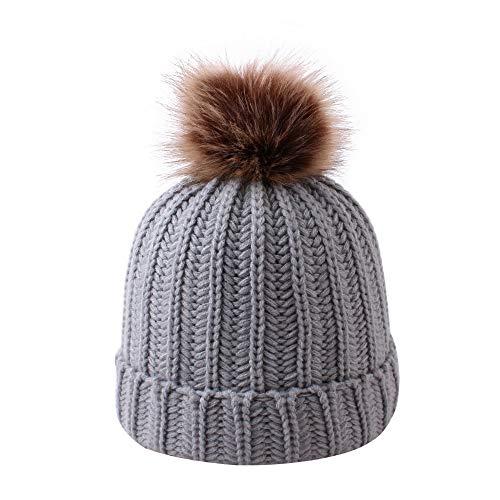 Muts winter hoed ouders kind kind breien hoed sjaal pak leuk kind baby winter hoed sjaal set mannen vrouwen warme gebreide beanie hoed, grijs style1
