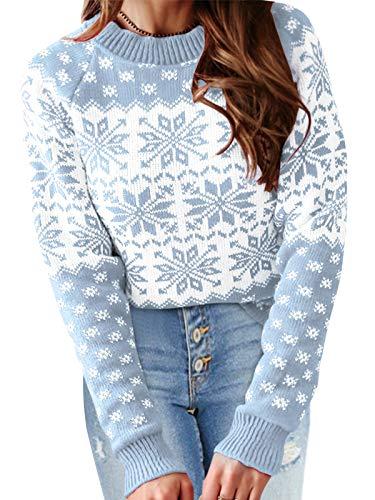 YOINS Pullover Damen Oberteile Elegant Oversize Strickpulli Rundhals Weihnachtspullover Rentiermuster Winter Christmas Sweater 3-hellblau M