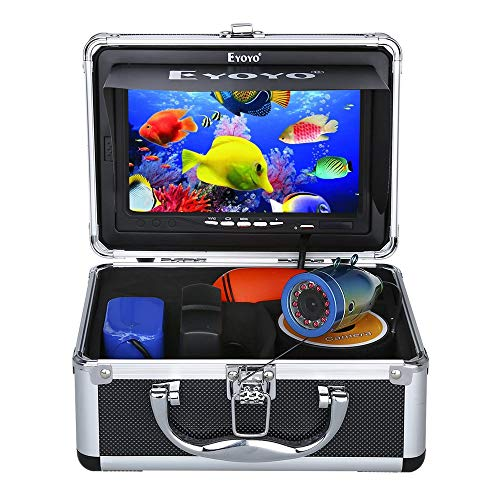 Eyoyo Portable 7 inch LCD Monitor Fish Finder Waterproof Underwater 1000TVL Fishing Camera 15m Cable 12pcs IR Infrared...