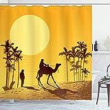 ABAKUHAUS Düne Duschvorhang, Kamel Männer und Palmen, Seife Bakterie Schimmel und Wasser Resistent...
