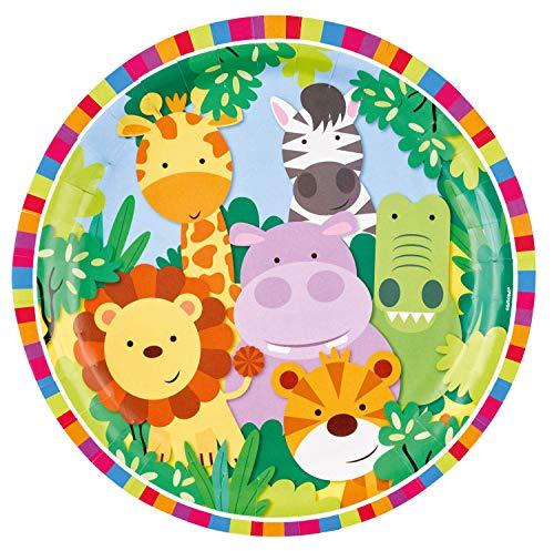 Amscan 11012024 9901916 - Papierteller Dschungel Tiere, 8 Stück, Durchmesser 22,8 cm, Pappteller, Partygeschirr