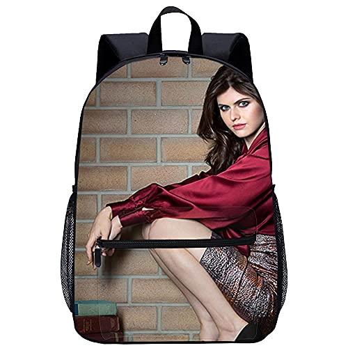 WYFCL 3D Rucksack Enfant Mignon Cartable -Alexandra Daddario-Voyage Camping école Randonnée pour Garçons Filles-Taille : 45x30x15 cm/17 pouces-Backpack