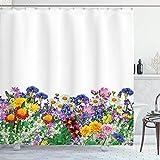 N \ A Duschvorhang, Blumengarten mit Gänseblümchen, Veilchen & Tulpen, Naturfarben, bedruckt, Stoff, Badezimmer-Dekor-Set mit Haken, 183 cm lang, Ringelblume