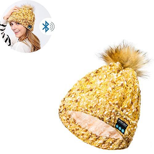 AH&Y Sombreros de Auriculares con música, Gorro con Bluetooth Gorro de Punto inalámbrico Lavable para el Invierno Música con Gorro Unisex Bluetooth Fit Regalos Deportivos para Navidad (1 Sombrero),C