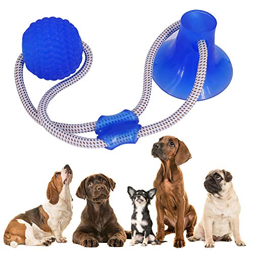 Suction Cup Dog Toy, Multifunction Pet Molar Bite Toy with Strong Rope and Powerful Suction Cup for Tug and Chewing, Helps Clean Teeth
