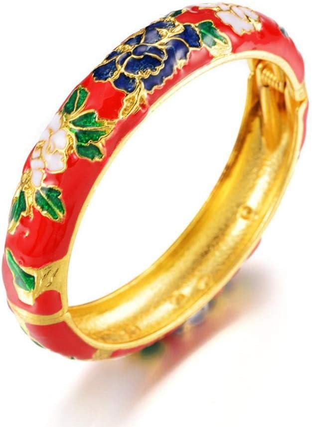 N/D Thick Retro Ethnic Bracelet Cloisonne Gold Hinge Cuff Jewelry Bangle Enameled Peony Flower Hand Ornament for Adult Women Girls Gifts red