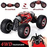 JKLL 4WD Coche teledirigido,1:14 Off-Road Coche Teledirigido, 2.4GHz Crawler de Control Remoto Juguete,Potente Motor magnético, Velocidad 20KM / h,con Baterías Recargables, Regalo para Niños,Rojo