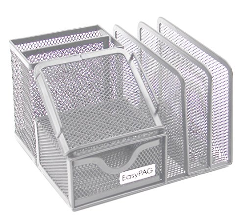 EasyPAG Mesh Collection Desk Organizer 3 Letter Sorter with Drawer,6.5 x 5.5 x 4.25 inch,Silver