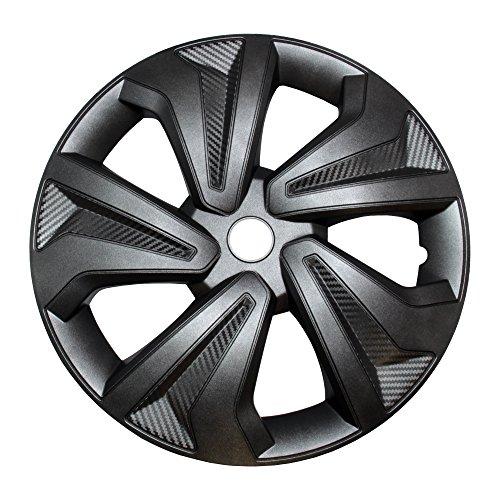"""4X Radkappen Carbon Grey Auto Radzierblenden Silber Grau 16"""" Zoll"""