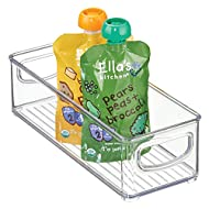 "mDesign Kitchen Refrigerator Cabinet or Pantry Baby Food Storage Organizer Bin with Handles for Breast Milk, Pouches, Jars, Bottles, Formula, Juice Boxes - BPA Free, 10"" x 4"" x 3"" - Clear"