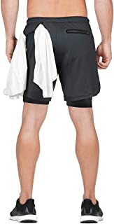 MECH-ENG Men's 2 in 1 Shorts Workout Running Training Gym 7 Short with Towel Loop
