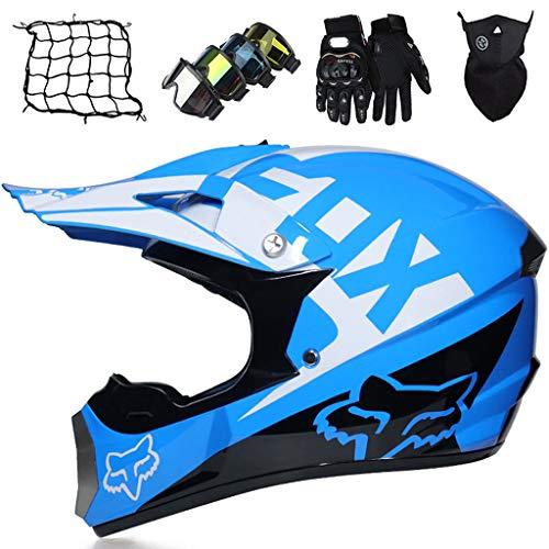 Casco Niños Dirt Bike Azul Casco de Moto de Integral Casco de Motocross Adultos y Jóvenes para ATV Off Road Unisex Casco de Bicicleta de Montaña, con Diseño FOX