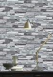 YIFU LIFE F2181 Faux Stone Brick Wallpaper Roll,Gray 3D Embossed Multi Brick Blocks Wallpaper Living Room Bedroom Kitchen Bar Wall Decoration 20.8' x 31ft