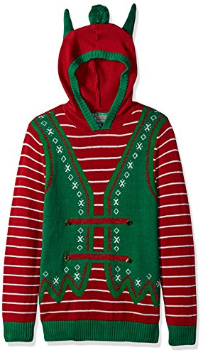 Ugly Christmas Sweater Company Men's Assorted Xmas Sweaters, Cayenne Elf Hoodie with Ears, S