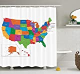 Ashasds Wanderlust Shower Curtain by Colorful USA Map with States and Capital Cities Washington Florida Indiana Print Fabric Bathroom Decor Set with Hooks 60 x 72 in