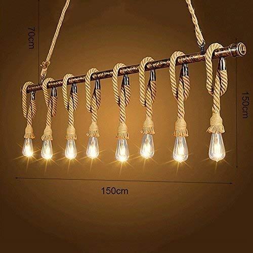 YUQIYU Luces pendientes, cuerda del cáñamo de la vendimia de la lámpara de techo colgando colgante de luz de lámpara retro Industrial Personalidad de bambú de Iluminación en Refectorio Restaurante Bar