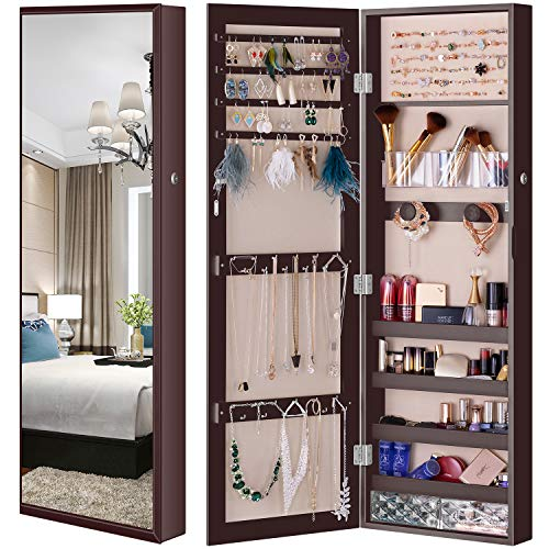 LUXFURNI Mirror Jewelry Cabinet Wall-Mount/Door-Hanging Armoire, Full Length Mirror Lockable Makeup Storage Organizer w/Cosmetic Box (Espresso)